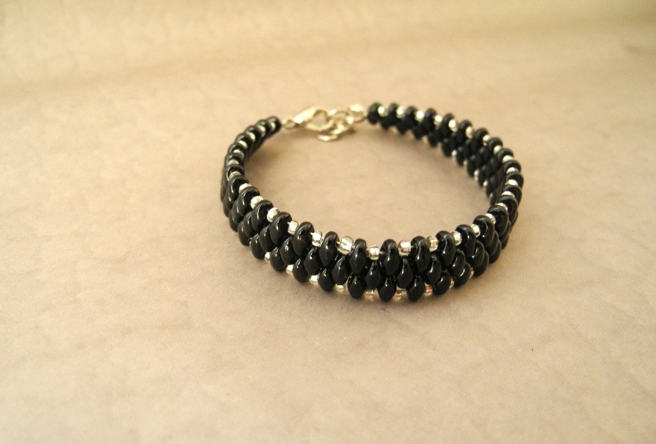 black bracelet, black beaded bracelet, Seed Bead bracelet, summer colors bracelet, woven ,Beaded Bracelet,