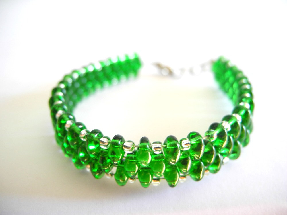 Emerald Bracelet Beaded Seed Bead Summer Colors Woven Green Seead