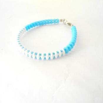 white and blue bracelet, bead bracelet, Seed Bead bracelet, spring colors bracelet, gift, Beaded Bracelet