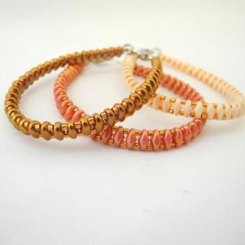 coral bracelet, beige bracelet, bronze bracelet, set of three bracelet, Seed Bead bracelet, spring colors bracelet, Beaded Bracelet,colorful