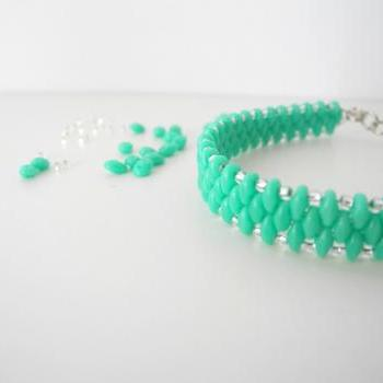 Mint bracelet, mint green beaded bracelet, Seed Bead bracelet, summer colors bracelet, woven, Beaded Bracelet,