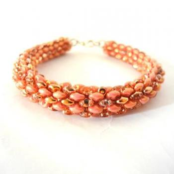 coral bracelet, coral pink beaded bracelet, gold and pink Seed Bead bracelet, summer colors bracelet, woven, Beaded Bracelet,