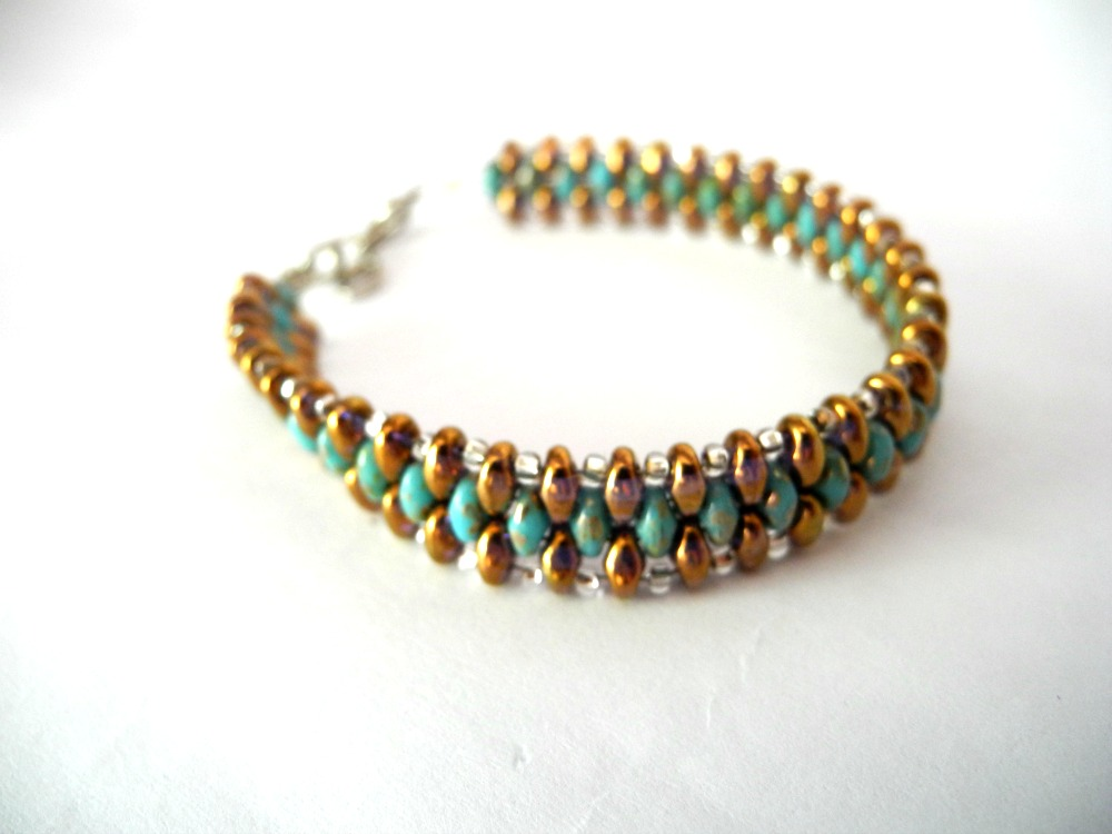 Bronze Bracelet Turquoise Seed Bead Woven Summer Colors Beaded